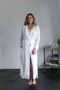 Luna Long Bridal Robe in White