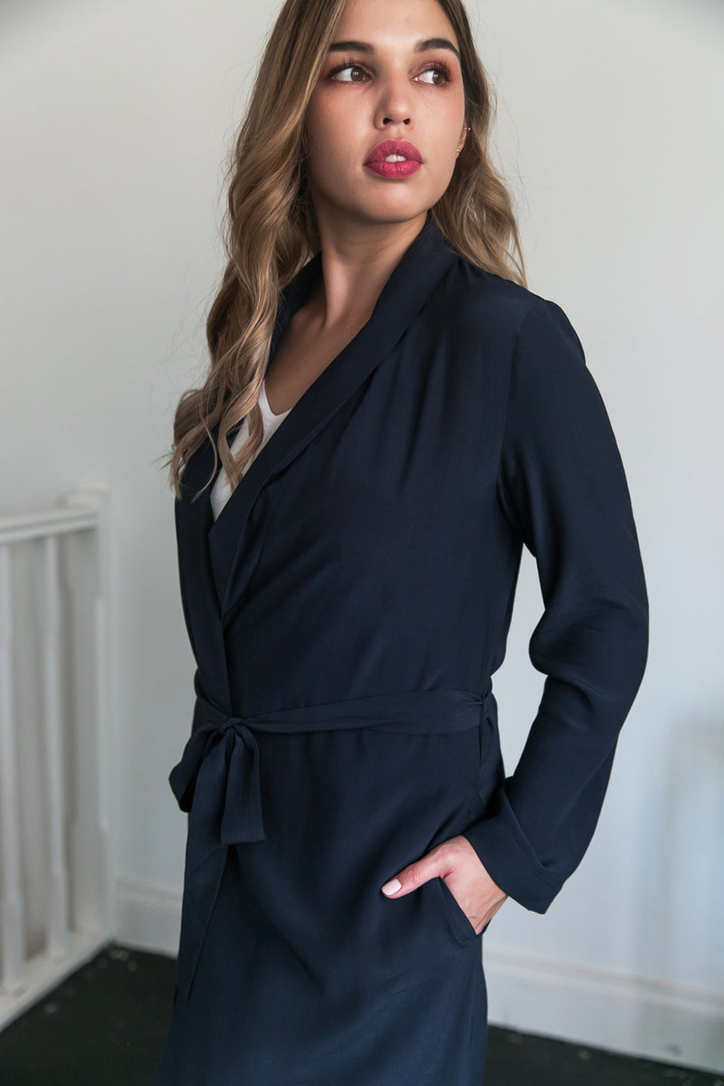 Luna Long Bridal Robe in Navy