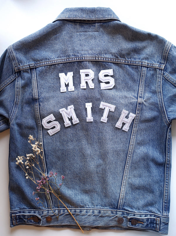 Mrs Surname Set - Iron On Letter Set White