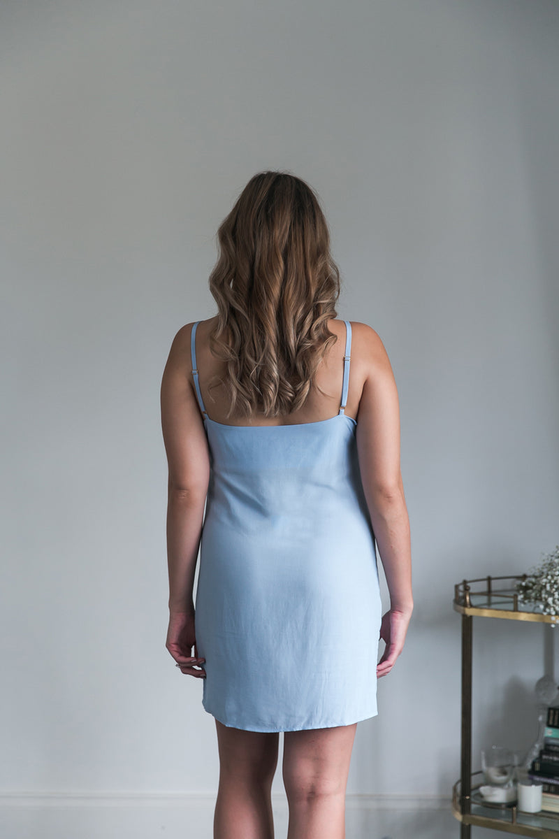 Sena Slip Dress in Powder Blue