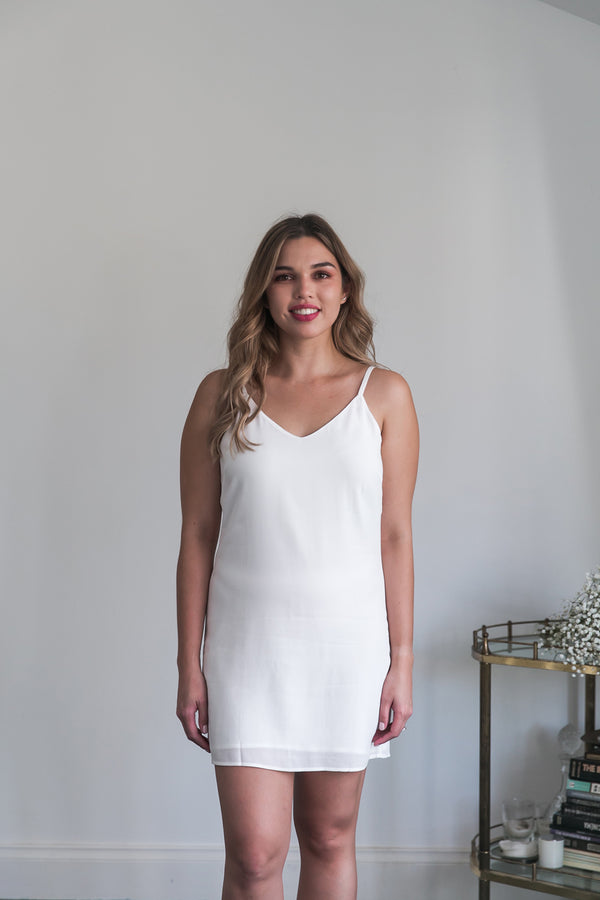 Sena Slip Dress in White