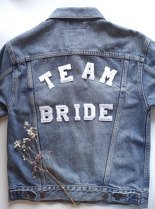 Team Bride Set - Iron On Letters White