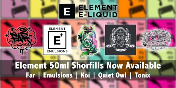 Elements E-Liquid banner Far Emulsions Koi Tonix eliquid | 420 vaporizer