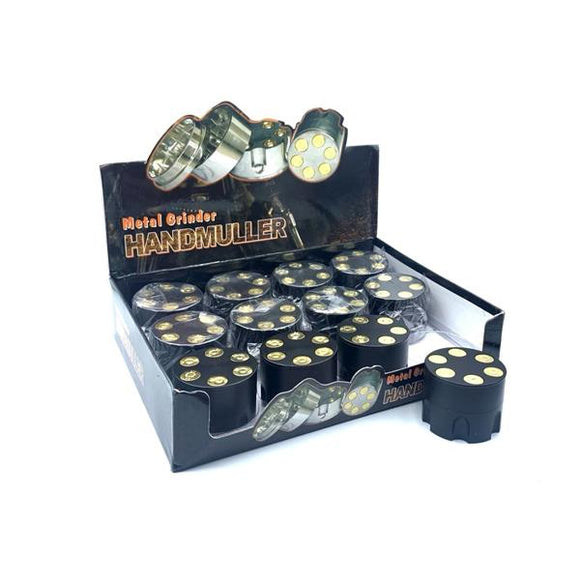 12 x 3 Parts Handmuller Big Bullet Black Metal 50mm Grinder - HX239B