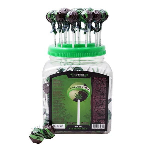 CBD Food & Drink - Euphoria Cannabis Cola Lollipops 12g X 100pcs