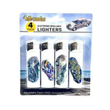 Smoking Products - 12 X 4Smoke 4 Pack Electronic Printed Lighters - DY007