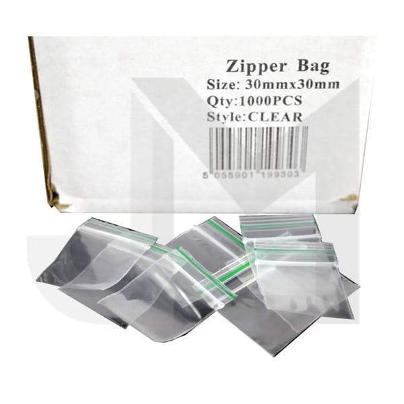Smoking Products - 30mm X 30mm Clear Zipper Bags