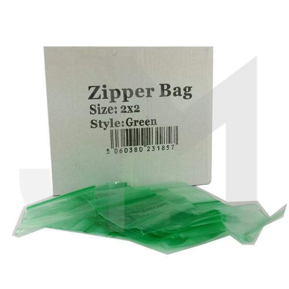Smoking Products - 5 X Zipper Branded 2 X 2 Green Bags