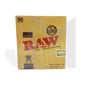 50 Raw Classic King Size Slim Rolling Paper