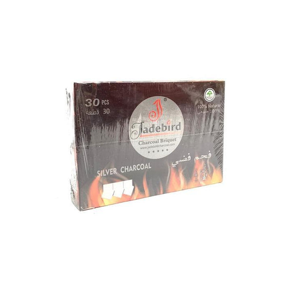 Smoking Products - JadeBird Shisha Hookah Silver Charcoal (30 Pieces)