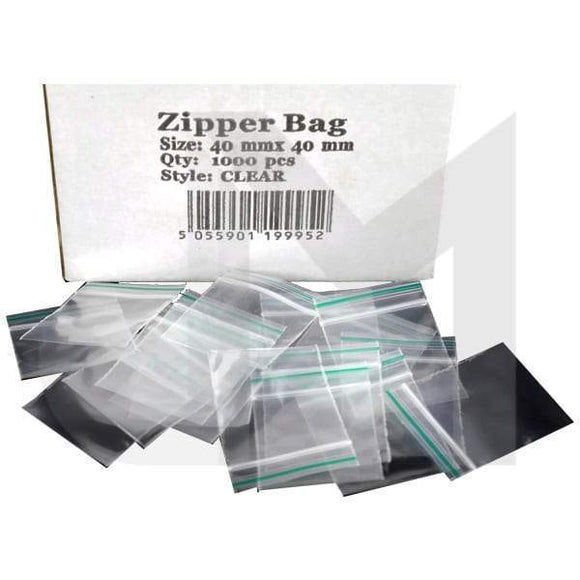 Smoking Products - Zipper Branded 40mm X 40mm Clear Bags