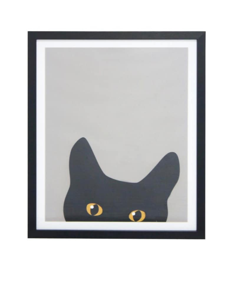 Peek-A-Boo Black Cat Framed Print