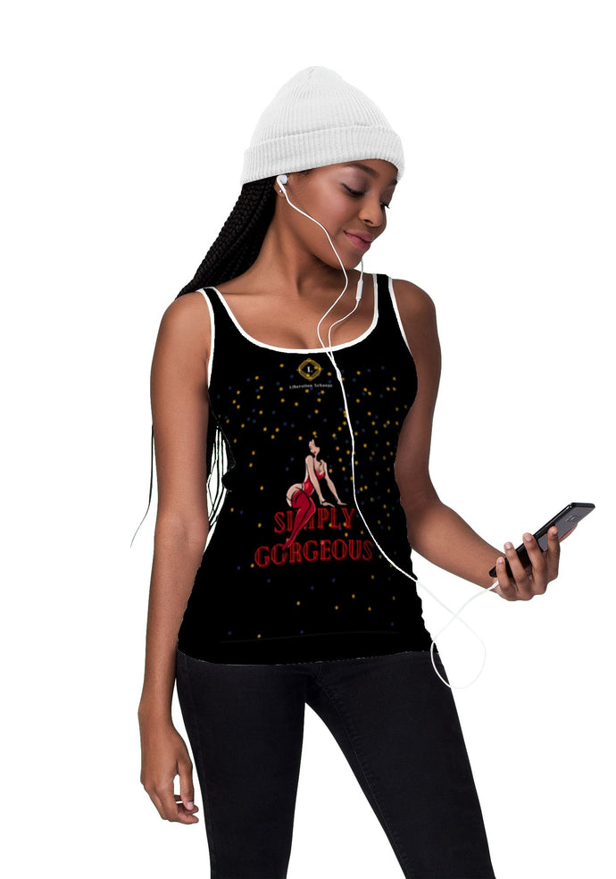 Women's 'Simply Gorgeous' Black Tank