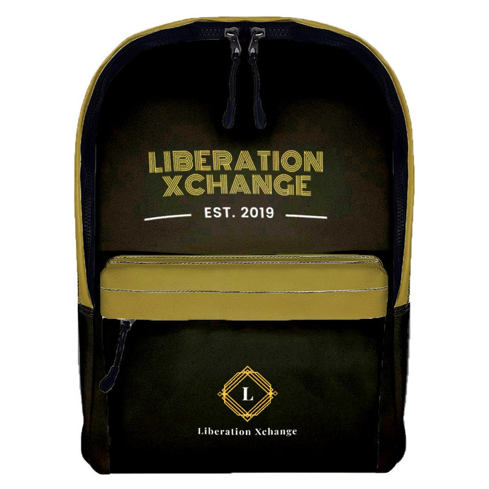 Liberation Xchange Blk/Gld Leather Backpack