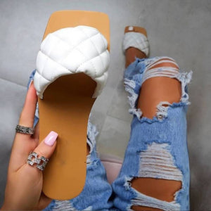 Women Flat Heel Leather Slippers