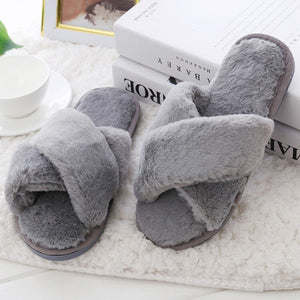Women Home Slippers with Faux Fur