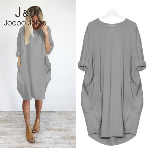 Women Casual Loose Dress with Pocket