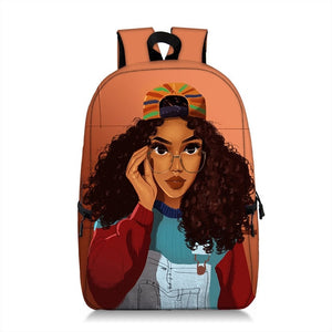 Cute Melanin Girl Print Backpacks