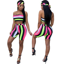 Load image into Gallery viewer, Sexy Two Piece Multicolor Stripe Strapeless Crop & Shorts Set