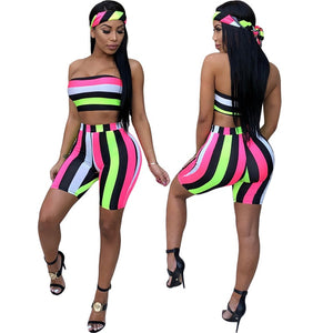 Sexy Two Piece Multicolor Stripe Strapeless Crop & Shorts Set