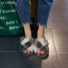 Load image into Gallery viewer, 2020 Comfortable Faux Fur Cross Slippers