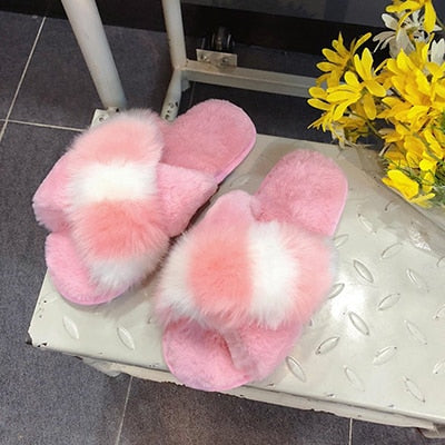 2020 Comfortable Faux Fur Cross Slippers