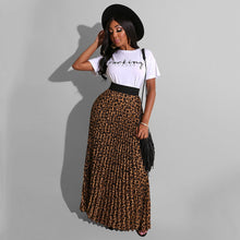 "Load image into Gallery viewer, Leopard Print Long Maxi Pleated Skirt and ""Sassy"" Print Tshirt"