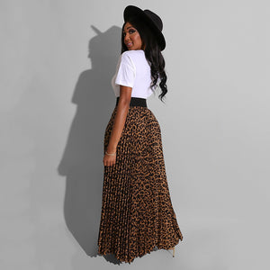 "Leopard Print Long Maxi Pleated Skirt and ""Sassy"" Print Tshirt"