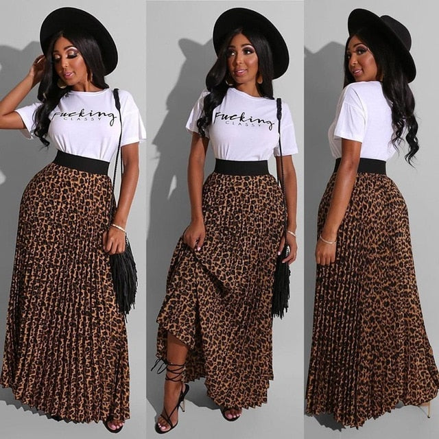 Leopard Print Long Maxi Pleated Skirt and