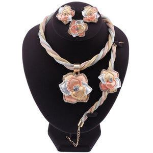 Classic Crystal Flower Pendant Jewelry Sets for Women