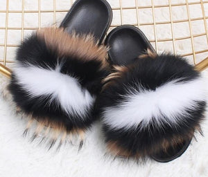 DELUXE Plush Real Fur Slippers