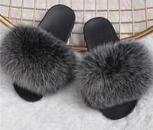 Load image into Gallery viewer, DELUXE Plush Real Fur Slippers