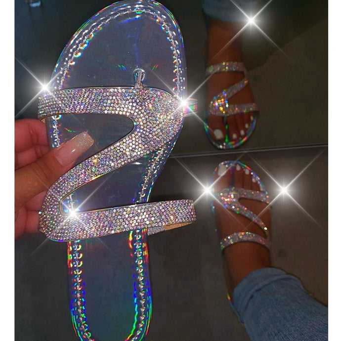 Women Summer Crystal Bling Slippers