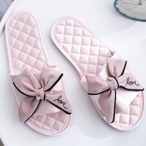 Women Silk Slippers w/ Cute Love Bow