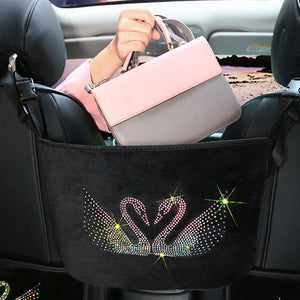 Crystal Rhinestone Car Storage Bag Organizers
