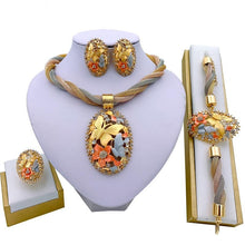 Load image into Gallery viewer, African Gold Pendant Necklace, Earrings, Bracelet, Ring, Bridal Jewelry Set for Wedding