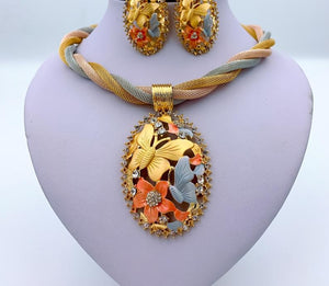 African Gold Pendant Necklace, Earrings, Bracelet, Ring, Bridal Jewelry Set for Wedding