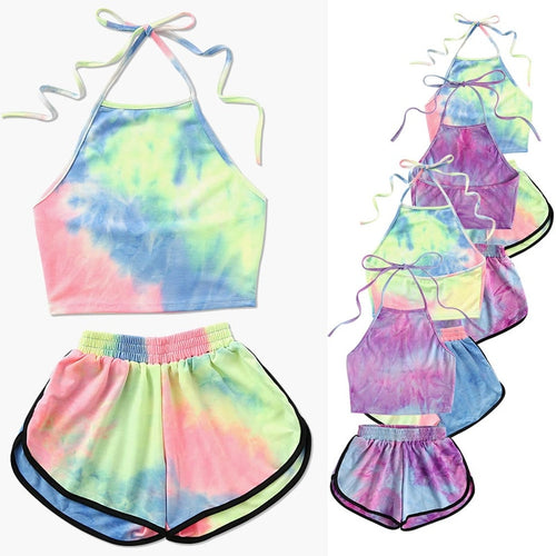 Tie-Dye Halter Crop Top and Shorts Two 2 piece Set