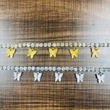 Load image into Gallery viewer, Gold Butterfly Rhinestone Crystal Anklets