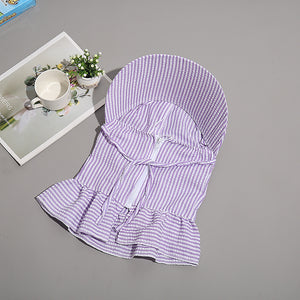 New Women Multi Function Anti-UV Summer Striped Wide Brim Visor