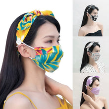 Load image into Gallery viewer, New Fashion Printed Bow Knotted Headband Mask Set