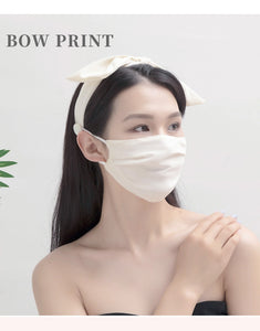 New Fashion Printed Bow Knotted Headband Mask Set