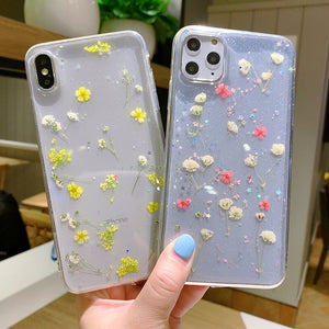 Real Dry Flower Glitter Clear Case For iPhones