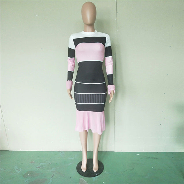 Womens Fashion Knitted Midi Dress