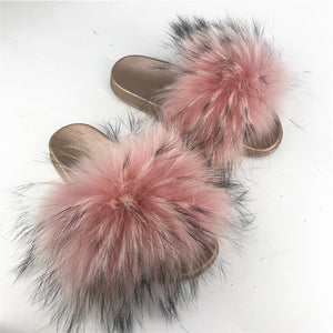 Rose Gold Fashion Fur Slides