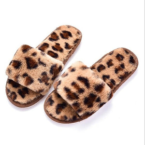 New Cheetah Print Fur Slippers