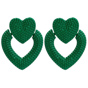 Large Designer Acrylic Heart Earrings