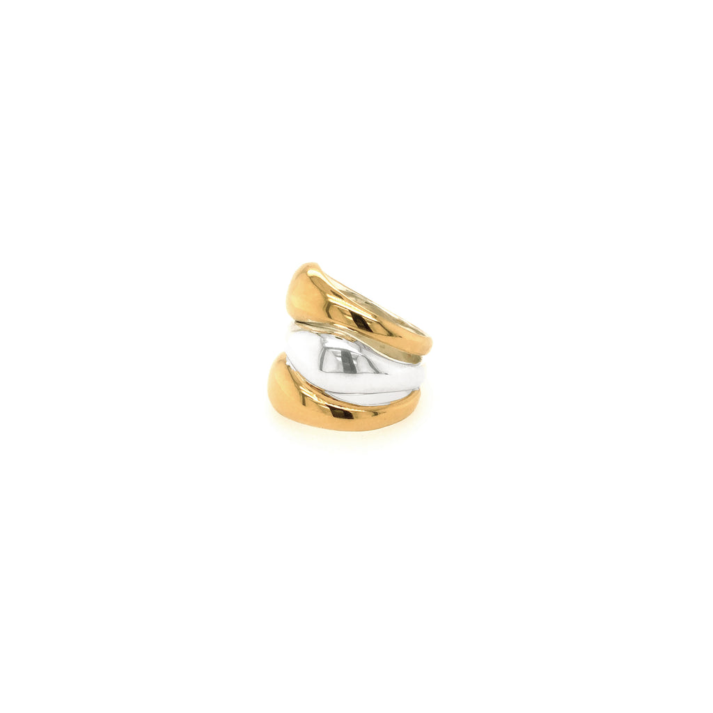 Trilogy Silver and Gold Ring - Anna Design Jewellery