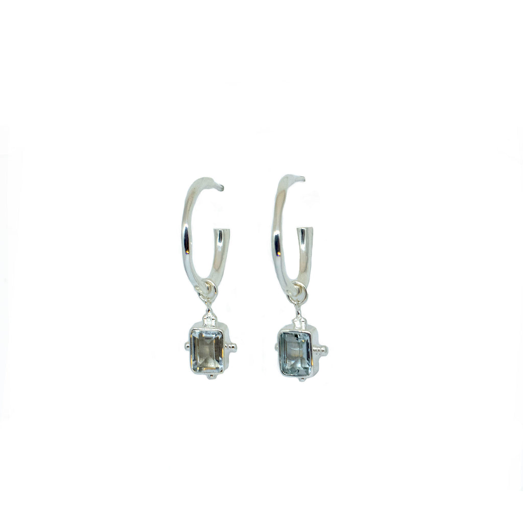 Aquamarine Silver Charmed Hoops - Anna Design Jewellery