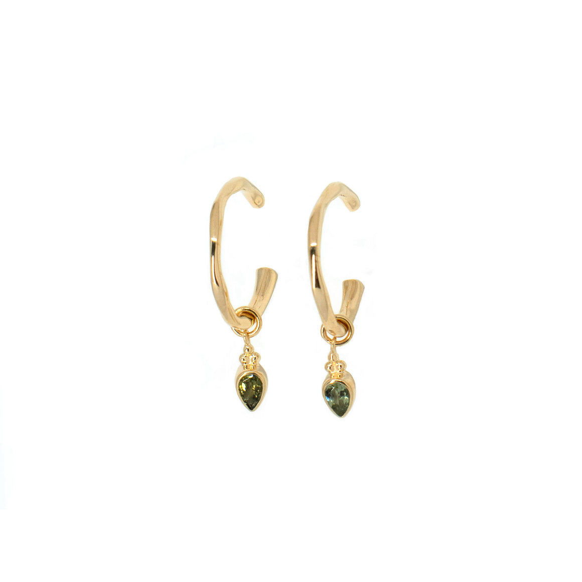Tourmaline Gold Charmed Hoops - Anna Design Jewellery